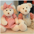 30cm 2 Pcs/set Soft Plush Toy Couple Teddy Bear With Cloth  Birthday Gift