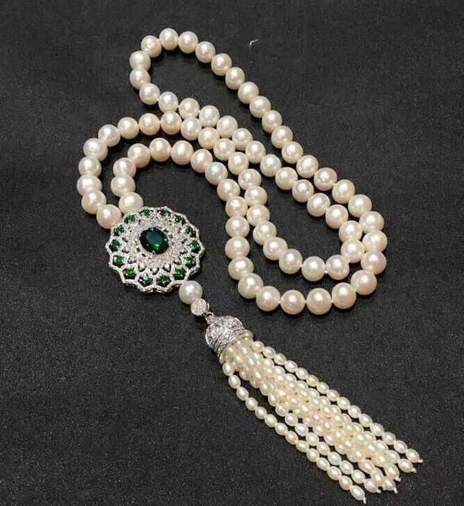 free shipping >>>>noble jewelry 8-9mm Freshwater white pearl necklace green Crystal pendantfree shipping >>>>noble jewelry 8-9mm Freshwater white pearl necklace green Crystal pendant