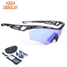 Obaolay Polarized Sports Men Sunglasses Road Cycling Glasses Mountain Bike Bicycle Riding Protection Goggles Eyewear 2 Lens 2017