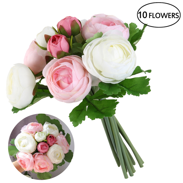 Bestoyard 10pcs Wedding Flower Bouquet Aritifitial Camellia Flowers