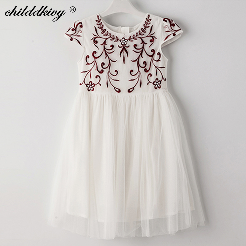 Childdkivy Girls Summer Dress 2018 Baby Girls Embroidery Princess Dress Kids Dresses for Girls Children Party Dress 3-10 Years summer dresses for girls party dress 100% cotton summer cool and refreshing the harness green flowered dress 1 5years old