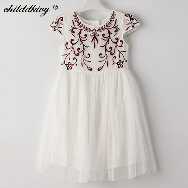 4bfaeec880747 Childdkivy Girls Summer Dress 2018 Baby Girls Embroidery Princess Dress  Kids Dresses for Girls Children Party Dress 3-10 Years