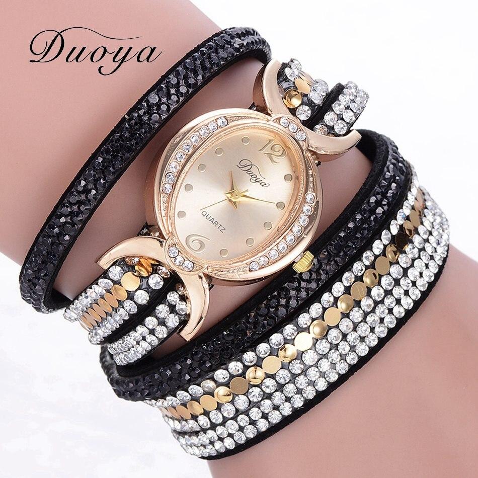 где купить 2018 Duoya Brand Luxury Vintage Business Women Watch Fashion Gold Wristwatch Crystal Bracelet Dress Quartz Casual Ladies Clock по лучшей цене