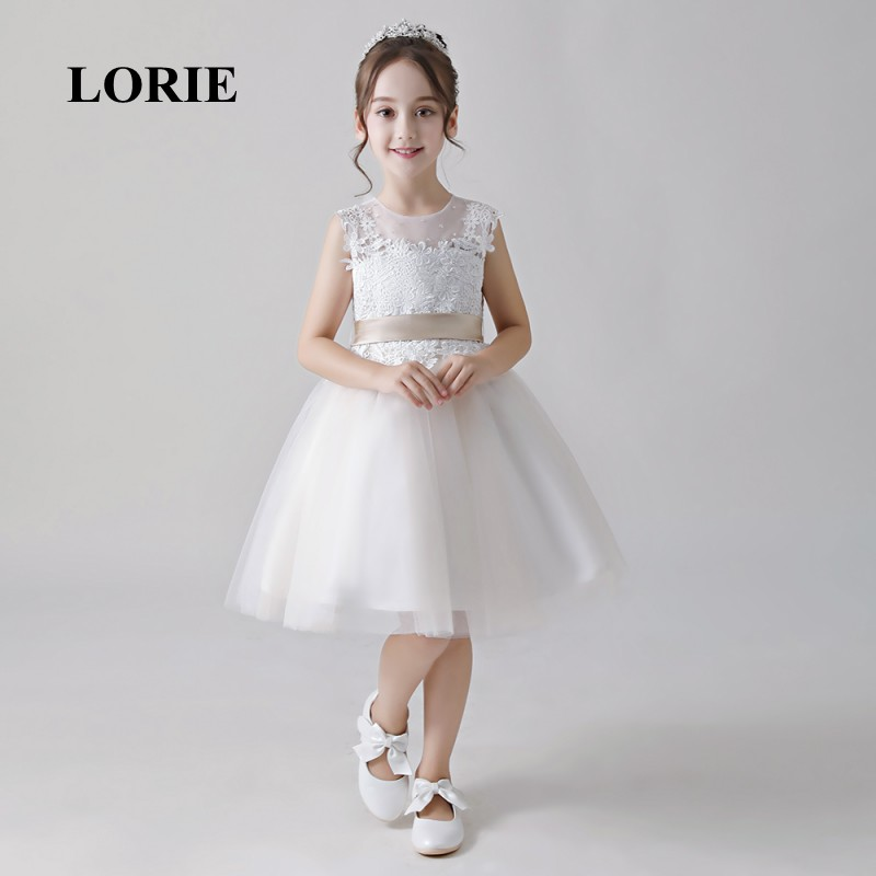 LORIE   Flower     Girl     Dresses   O-Neck A Line Appliques Tulle Lace Knee Length Primera comunion   Girl   Party   Dresses   for   Girl   Pageant