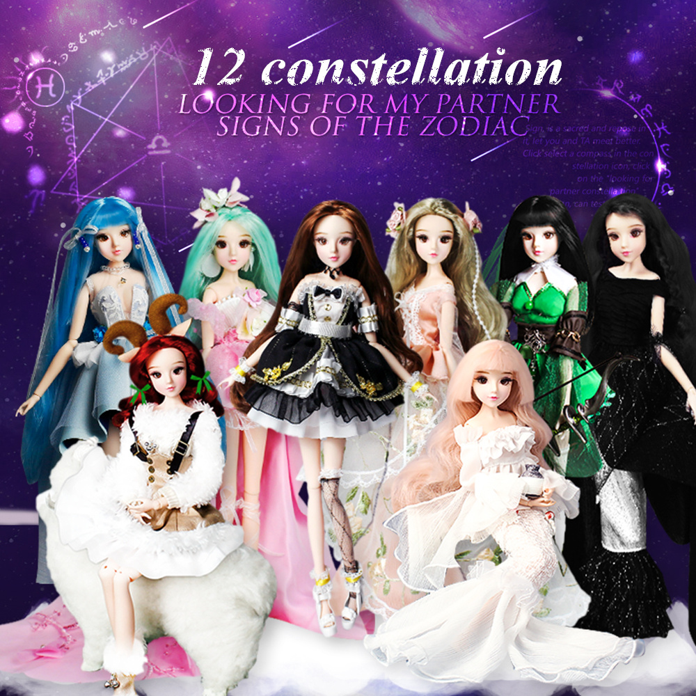 MM Girl 12 constellations dolls BJD doll with clothes shoes stand 14 joint body it suitable for toy gift Ямча
