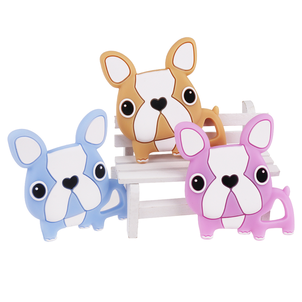 TYRY.HU Baby Teether Animal Dog Silicone Teether BPA Free Silicone Teething Beads For Ne ...