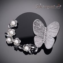 Iyoe Fashion Gun Metal Butterfly Bros Liontin Perhiasan Vintage Gaya Country Fashion Mutiara Kristal Bros & Pin untuk Wanita(China)