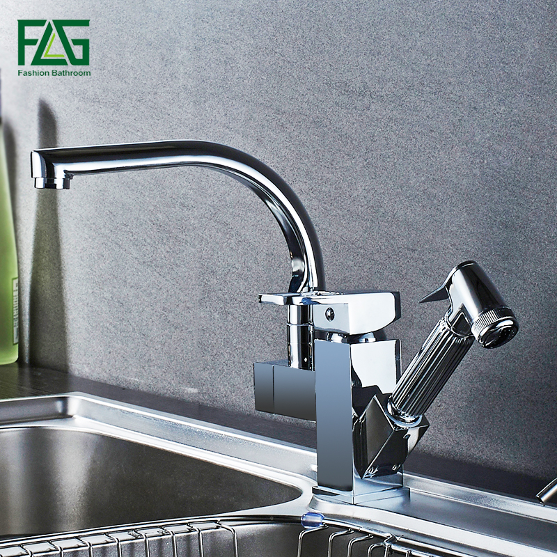 FLG Kitchen Faucets Brass Chrome Kitchen Sink Faucet Pull Out Sprayer Swivel Spout Single Lever Deck Mount Vanity Mixer Taps frap kitchen faucets pull out shower sprayer deck mount sink vessel kitchen sink faucet dual spout for kitchen mixer taps y40058