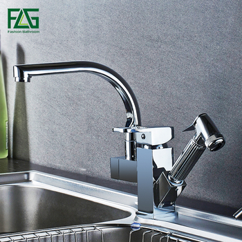 FLG Kitchen Faucets Brass Chrome Kitchen Sink Faucet Pull Out Sprayer Swivel Spout Single Lever Deck Mount Vanity Mixer Taps ulgksd kitchen faucet black brass pull out sprayer vessel sink faucet deck mounted hot and cold vanity faucets mixer water taps