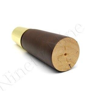 Image 3 - 4 stücke 130*48*27mm Nussbaum Farbe zink legierung Holz Möbel Bein Kegel Geformt Holz Füße für schränke Weichen Tisch