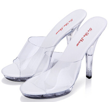 Shoes Women's Sexy Sandals slippers Transparent Waterproof Shoes Fine With 12cm Heels Super High Heels Catwalk Plus-size 35-44