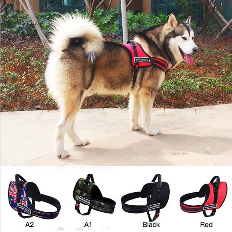 Big Dog Soft Nylon Durable Padded Pet Harness Service Dog Training
