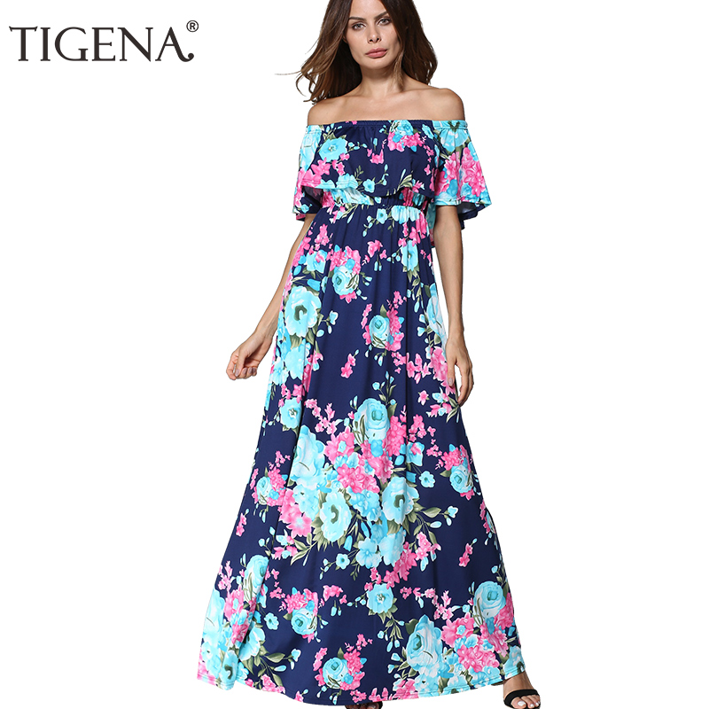 c3442d7e369 TIGENA Shoulder Floor Length Summer Dress 2018 Women Sundress Backless Tunic  Long Maxi Boho Beach Female