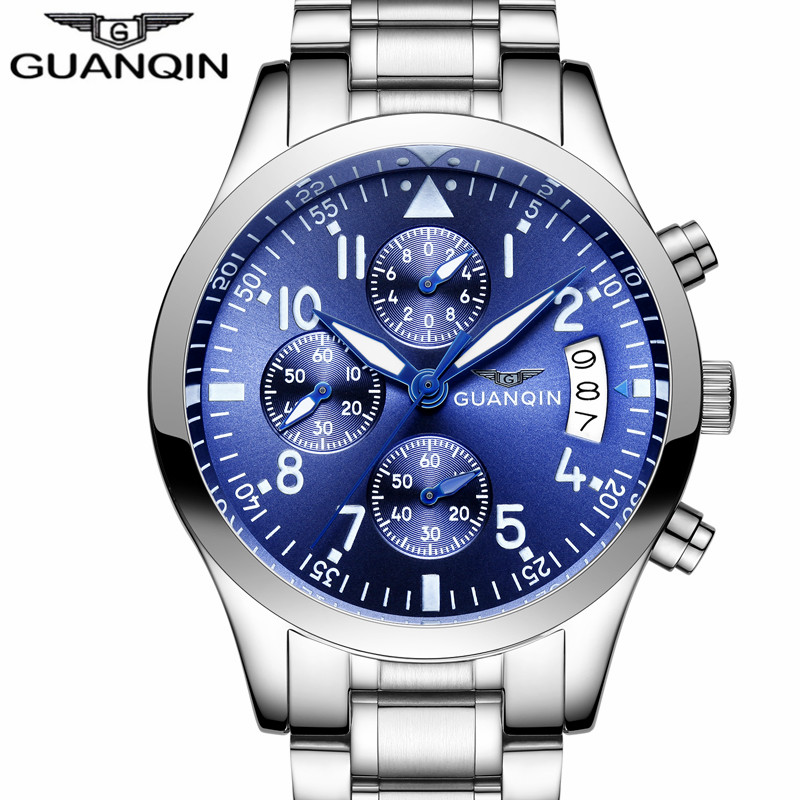 GUANQIN Luxury Brand Men Sports Watches Men's Business Quartz Clock Stainless Steel Waterproof Wrist Watch relogio masculino kingnuos tops luxury brand men full stainless steel business watches men s quartz date clock men wrist watch relogio masculino