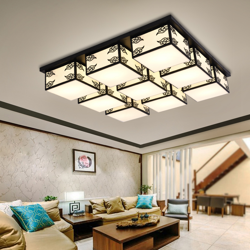 Chinese ceiling lamp dining room lights living room bedroom study modern 4/6/9 heads ceiling light cloth Square lamp ZA81045 3 4 6 8 head american pastoral sitting room dining room study bedroom chandeliers cloth art act the role ofing