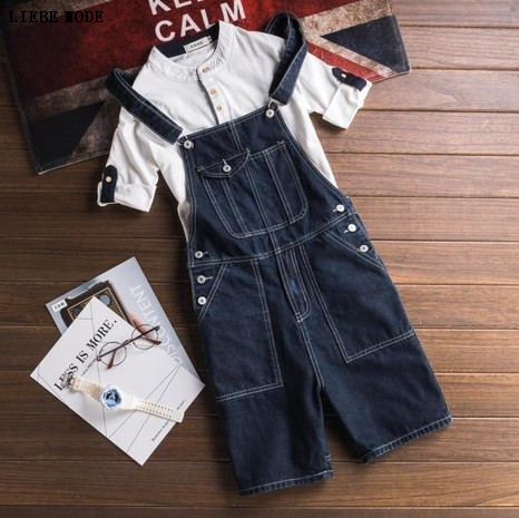 New Brand Casual Shorts Denim Bib Overalls Men Summer Style 2017 Male Denim Jumpsuit Ripped Jeans