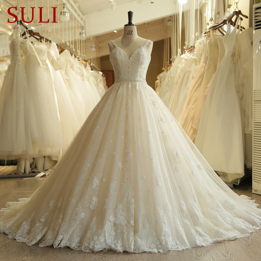 SL 023 Charming Sweetheart Applique Lace Vintage Pearls Bridal Wedding Dress 2018