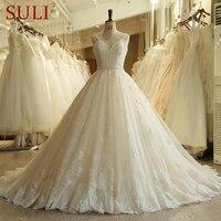 SL 023 Charming Sweetheart Applique Lace Vintage Pearls Bridal Wedding Dress 2018