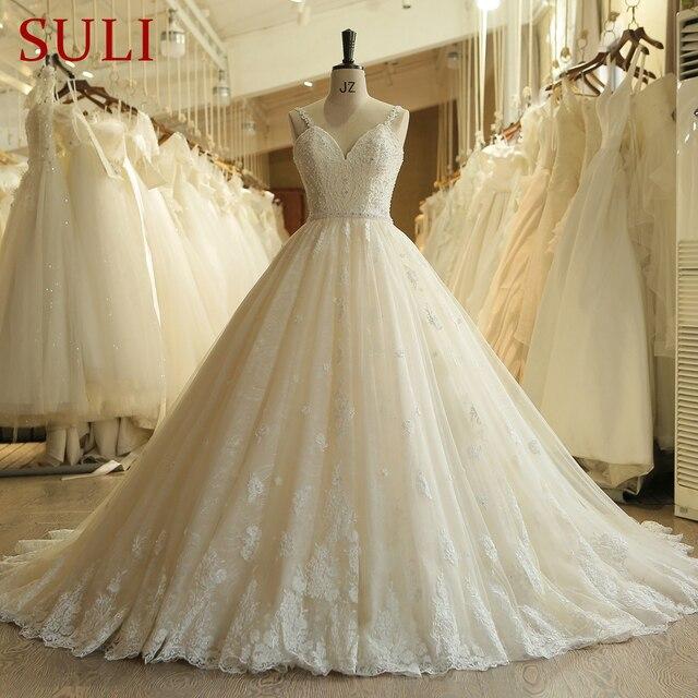 SL 023 urocze Sweetheart aplikacja z koronki Vintage perły koraliki pas suknia ślubna suknia ślubna vestido de novia princesa