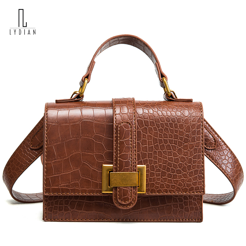 Lydian 2018 Spring Pu Flap Bag Totes Top New Small Handbags Working Day Clutch Casual Shoulder Bag Fashion Purple Messenger Bags