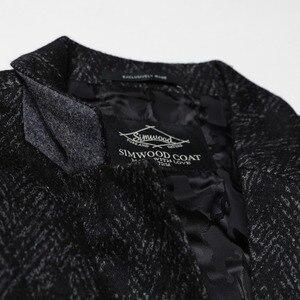 Image 3 - SIMWOOD di 2020 Inverno Nuovo Mix di Lana Giacche Uomini di Modo di Stampa Abiti Maschili Singolo Pulsante Giubbotti di Alta Qualità Cappotti Vestiti XZ6109