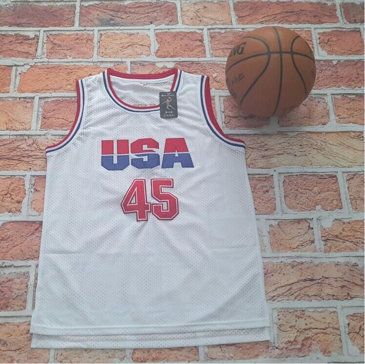 Prix pour USA Basketball Jersey 45 Donald Trump Commémorative Édition Blanc Régression Maillots de Basket-Ball Pour Vente Livraison Gratuite
