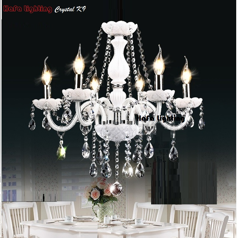 Image 2 - Modern White Crystal Chandelier Lights Lamp Chandeliers For bedroom Living room Fixture Crystal Light Lustres de crista lighting-in Chandeliers from Lights & Lighting