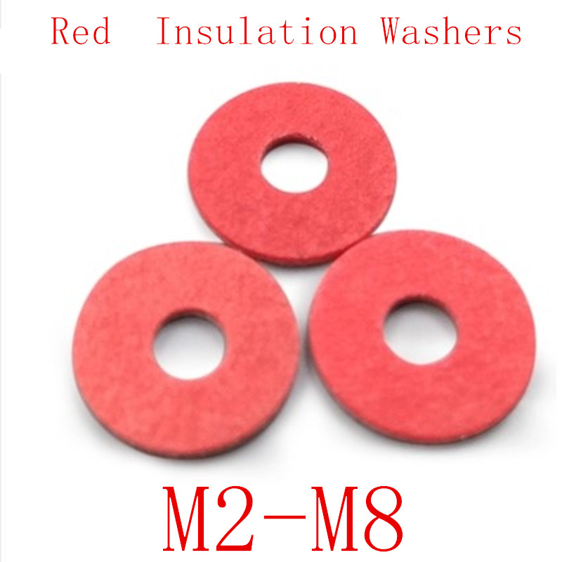 100pcs M2 M2.5 M3 M4 M5 M6 M8  Steel Pad Insulation Washers Red Steel Paper Meson Gasket Spacer Insulating Spacers100pcs M2 M2.5 M3 M4 M5 M6 M8  Steel Pad Insulation Washers Red Steel Paper Meson Gasket Spacer Insulating Spacers