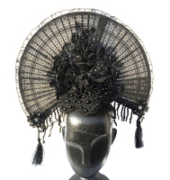 Flower Fan Lace Headwear Handmade Fancy Dress Tassels Headband Gothic Hair Accessories Costumes
