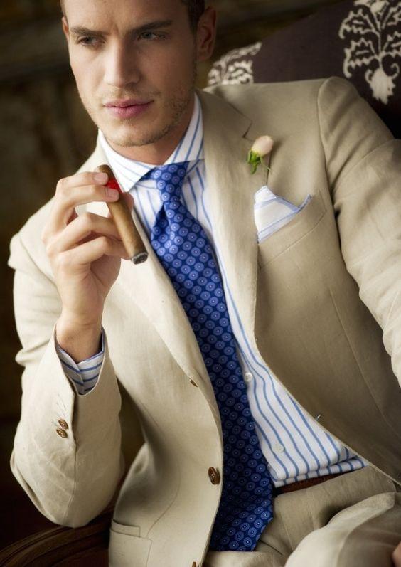 Beige Mens Beach Wedding Suits Slim Fit Linen Groom Tuxedos 2 ...