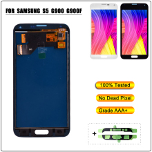 цена на For Samsung Galaxy S5 LCD SM-G900 G900F G900 I9600 LCD Display Touch Screen Digitizer With Sensor Glass Panel Assembly Adhesive