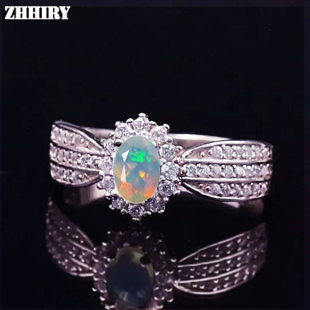 Genuine Opal Ring Natural Gemstone Fire Color Solid 925 Sterling Silver Rings Woman Fine jewelry