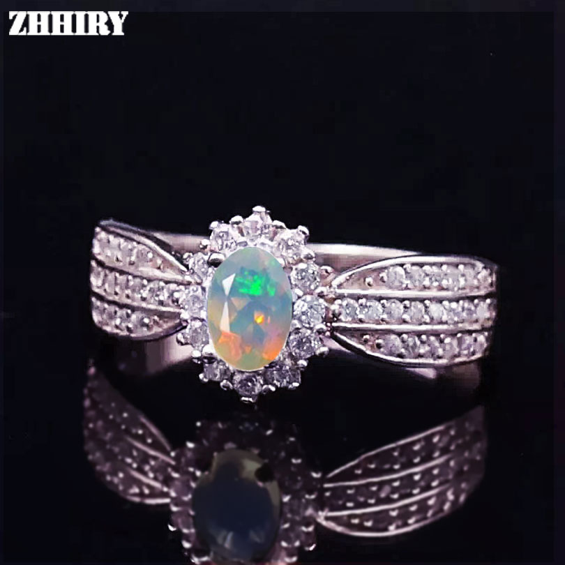 ZHHIRY Genuine Opal Ring Natural Gemstone Fire Color Solid 925 Sterling Silver Rings Woman Fine jewelry