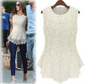 2015 New Summer Casual Female Lace Tops Hollow Out Women Dress Shirts Blusas De Renda Regatas Femininas Plus Size Crochet 5XL