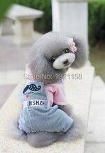 2016 New Winter Warm Pet dog cotton Clothes stripe pants Costume Jumpsuit Hoodie dog clothing Apparel four legs