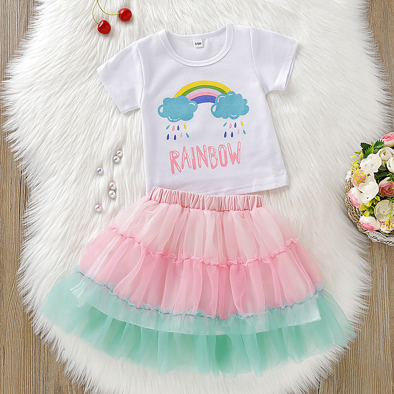 2Pcs/Set Summer Baby Girl Short Sleeve Rainbow Rain Print T-shirt Blouse+Mesh Skirts Casual Outfits Set(China)