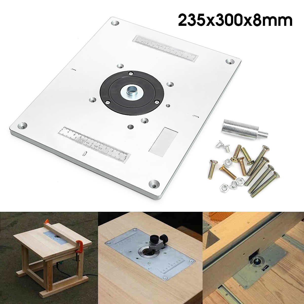 Universal router table insert plate aluminium alloy for diy best price aluminum router table insert plate for popular router trimmers models engrving machine diy woodworking greentooth Gallery