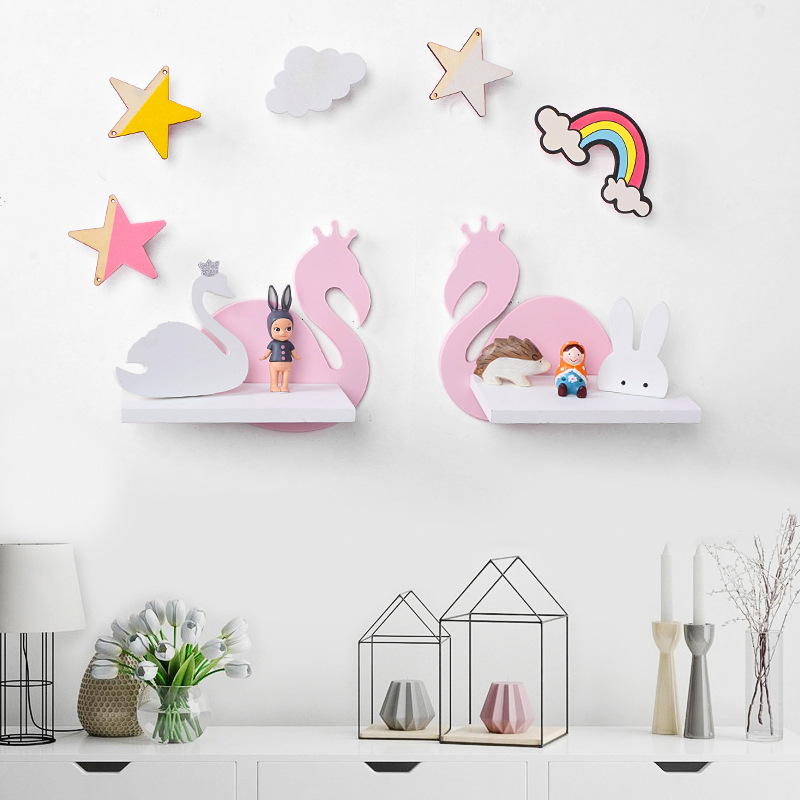 Us 12 32 22 Off Nordic Nursery Baby Room Decor Scandinavian Wall Shelf Decoration Organizer Storage Holders In