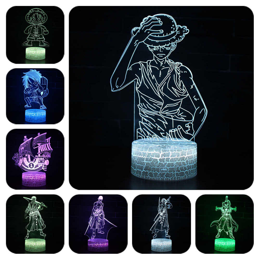 One Piece 7 Colors Changing Table Action Figures Lamp Luffy USB Led Desk Light Zoro Mihawk SUNNY Ship model toys Christmas Gift