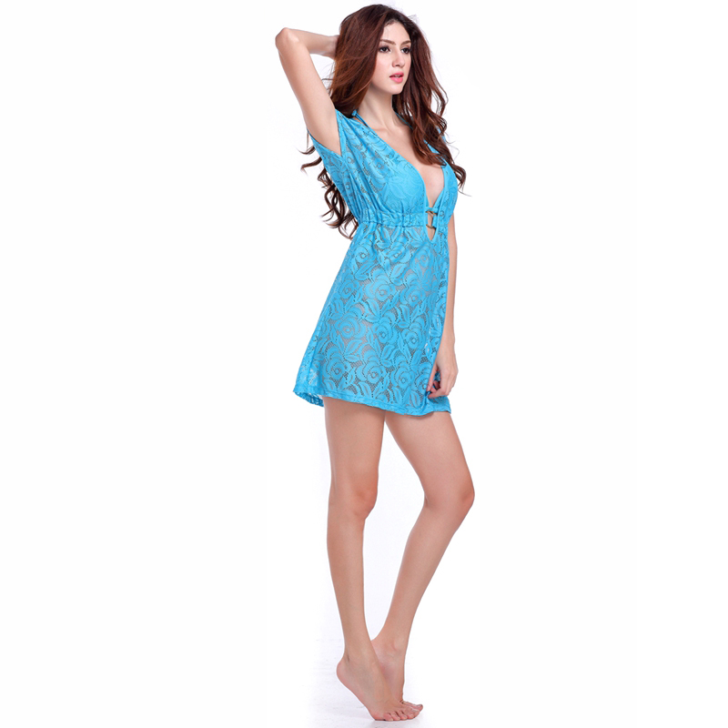New Arrival Women's Sexy Hollow Out Lace Cover Ups Beachwear Solid - Women's Clothing - Photo 6