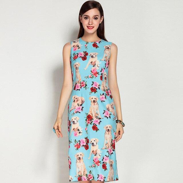 62ba54194c6c Customized 2017 Newest Women's Sleeveless Elegant Dog Rose Flower Printed  Knee length Dress O-Neck A-Line Cute dresses