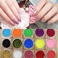 1/128 (0.2mm) Nueva 15 Colores puros de Moda de uñas glitter powder Decoración reflectante Láser lentejuelas Polvo fino Para Extremidades del Arte del clavo