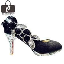 71751c75f Espumante Vestido de Flores de Casamento Do Diamante das Mulheres Sapatos  Quente Branco roxo senhora Saltos Altos De Noiva Parti.