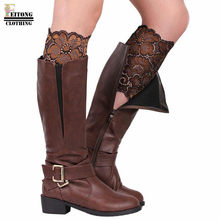 FEITONG 10 Colors Retro Style embroidery Women Stretch Lace Boot Leg Cuffs Soft Laced Boot Socks leg warmers for women(China)
