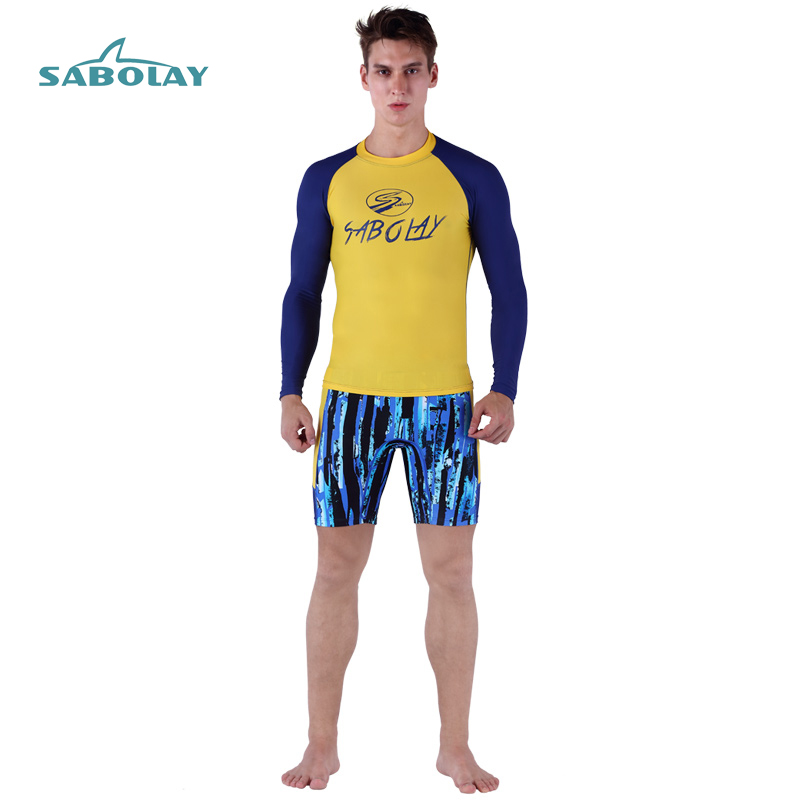 Swimwear Surf Rash Guard Men Diving Suits Spearfishing Surfing Long Sleeve Shirt Beach Shorts Pants Patchwork Letter Printing