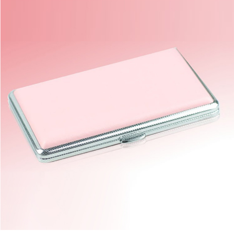 Women Cigarette case Pink Leather Case For Cigarette Woman Slim Cigarette Case Box Hold For 14Pcs 100mm Cigarette Accessories