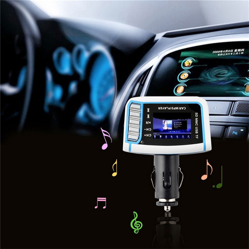 1.44 LCD Music Car MP3 Player FM Transmitter Modulator Card USB Drive SCV Video Files With Remote Control