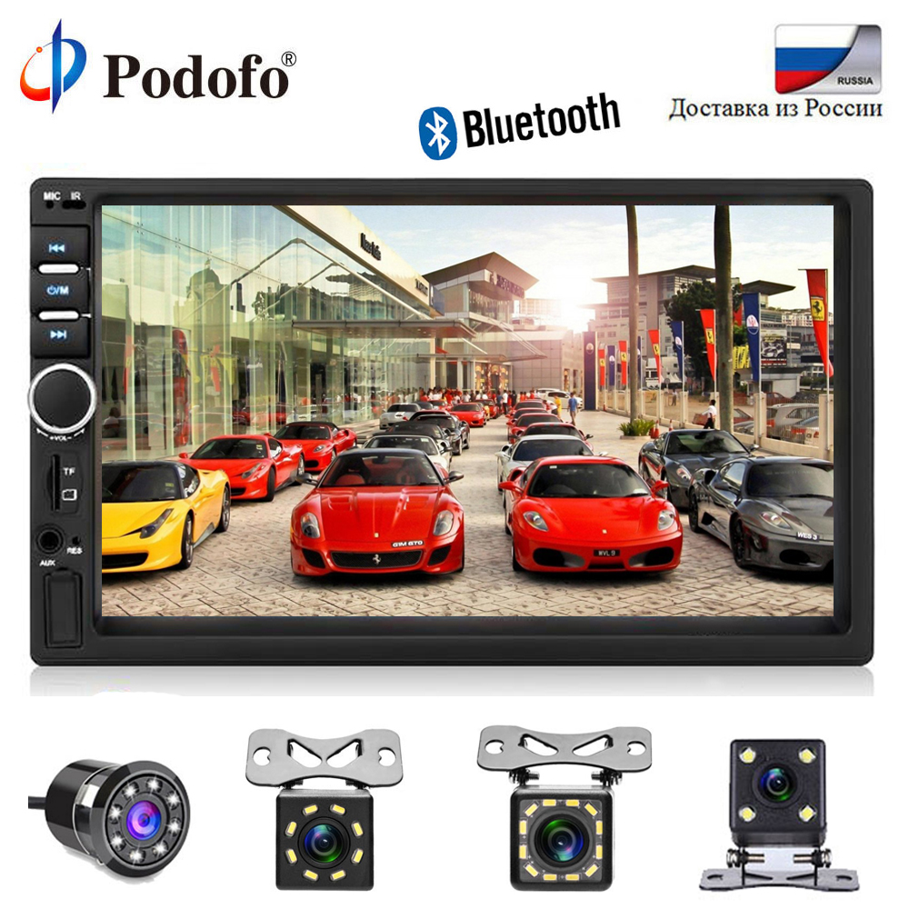 Podofo 2 din Car Radio Multimedia Player Autoradio Stereo 7 Bluetooth 2din Auto audio Video MP5 USB FM Universal Backup Camera universal 2 din car video player auto audio stereo mp5 player 7 2din car dvd player usb fm bluetooth support rear view camera