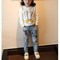 2016 New Fashion Girls Jeans Graffiti Print Girl Jeans Kids Denim Pants Cute High Quality Children