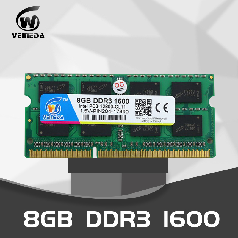 VEINEDA Laptop Memory <font><b>DDR3</b></font> <font><b>8GB</b></font> 4GB 2gb DDR 3 1333mhz 1600mhz <font><b>sodimm</b></font> RAM Notebook Memory 204pin 1.5V For Intel AMD Laptop image
